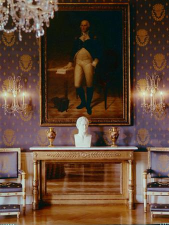 White House Interior View of Furniture, George Washington Painting and And Wallpaper, 1961 by Nina Leen