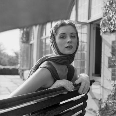 Woman Modeling College Fashion Head Scarfs, 1950