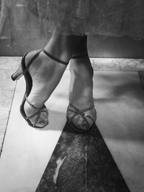 Woman Wearing Popular Style of Jeweled Evening Sandals by Nina Leen