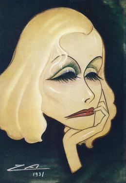 Greta Garbo Swedish-American Film Actress: a Caricature by Nino Za