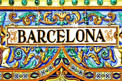 A Barcelona Sign Over A Mosaic Wall by nito