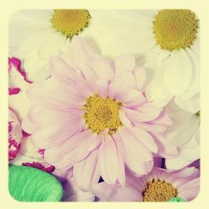 Closeup Of A Flower Bouquet With Daisies And Carnations, With A Retro Effect by nito