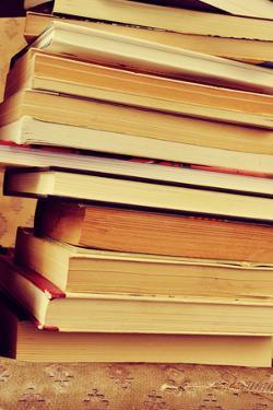 Closeup of a Piles of Books, with a Retro Effect by nito