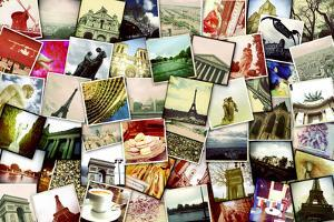 Collage of Different Snapshots of Different Landmarks and Scenes of Paris with Filter Effect by nito