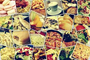Mosaic with Pictures of Different Meals and Dishes, Shooted by Myself, Simulating a Wall of Snapsho by nito