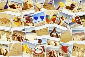 Mosaic with Pictures of Different Summer Scenes in Vintage Style. by nito