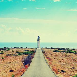 View of Beacon Far De Barbaria in Formentera, Balearic Islands, Spain, with a Retro Effect by nito