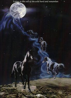 No More Night Mares Horses under Moon Art Print Poster