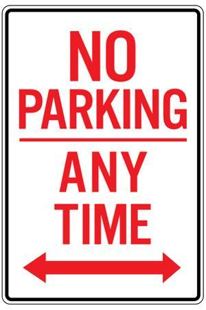 No Parking Any Time Double Arrow Plastic Sign