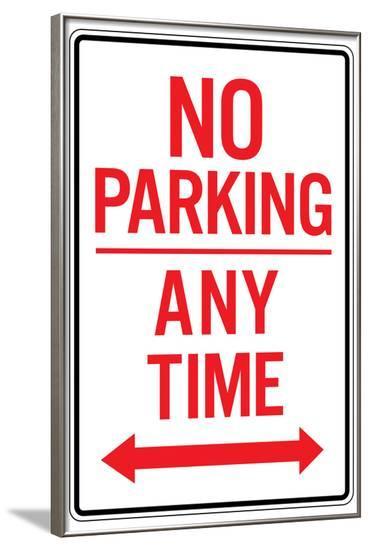 No Parking Any Time Double Arrow--Framed Art Print