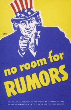 No Room for Rumors' American World War Two Poster