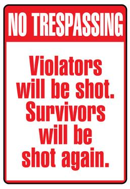 No Tresspassing Sign Art Print Poster