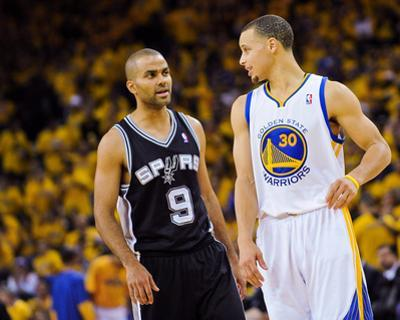 Oakland, CA - May 16: Stephen Curry and Tony Parker by Noah Graham