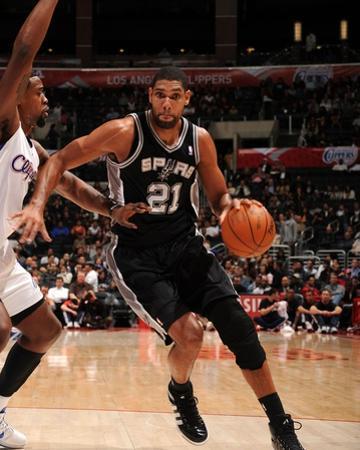 San Antonio Spurs v Los Angeles Clippers: Tim Duncan and DeAndre Jordan by Noah Graham