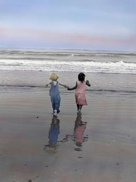 Boy and Girl on at Edge of Ocean Running and Holding Hands. by Nora Hernandez