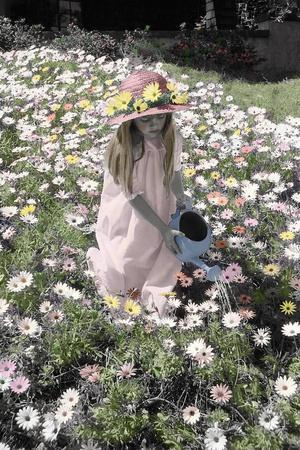 Young Girl in a Field of Flowers Watering Them