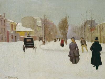 French Street Scene with Snow