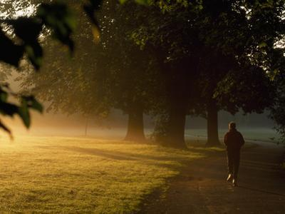 A Jogger Running in Early Morning Mist by Norbert Rosing