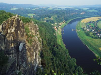 Aerial View, Sachsische Schweiz National Park, Germany by Norbert Rosing