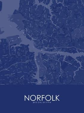 Norfolk, United States of America Blue Map