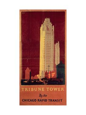 Tribune Tower, Published by Chicago Rapid Transit Company, Usa, 1925 (Colour Litho) by Norman Erickson