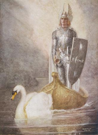 Lohengrin Arrives in a Boat Drawn by Elsa's Brother Godfrey by Norman Price