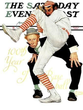 """100th Anniversary of Baseball"" Saturday Evening Post Cover, July 8,1939 by Norman Rockwell"