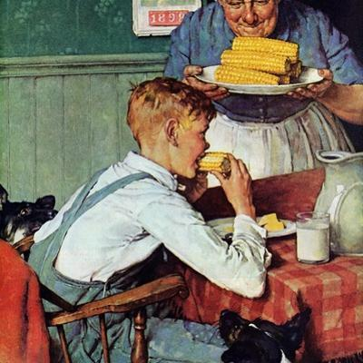 . . . And Then Ma, or Grandma Brought 'Em In (or Country Boy Eating Corn) by Norman Rockwell