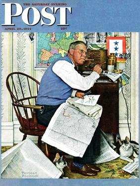 """""""Armchair General"""" Saturday Evening Post Cover, April 29,1944 by Norman Rockwell"""