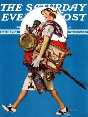 """At the Auction"" or ""Found Treasure"" Saturday Evening Post Cover, July 31,1937 by Norman Rockwell"