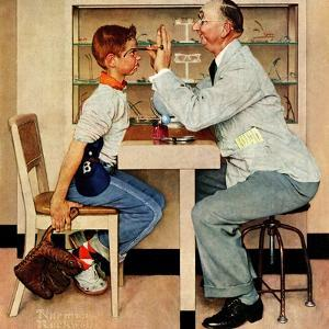 """At the Optometrist"" or ""Eye Doctor"", May 19,1956 by Norman Rockwell"