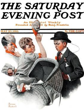 """Baby Carriage"" Saturday Evening Post Cover, May 20,1916 by Norman Rockwell"