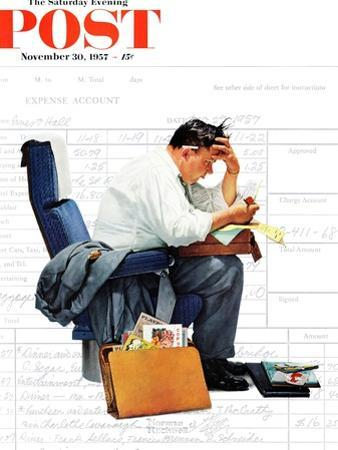 """Balancing the Expense Account"" Saturday Evening Post Cover, November 30,1957 by Norman Rockwell"