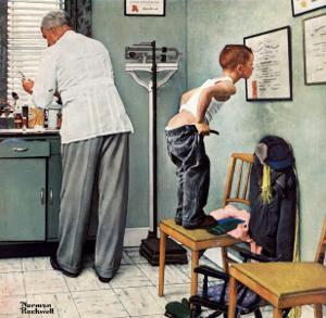 """Before the Shot"" or ""At the Doctor's"" Saturday Evening Post Cover, March 15,1958 by Norman Rockwell"