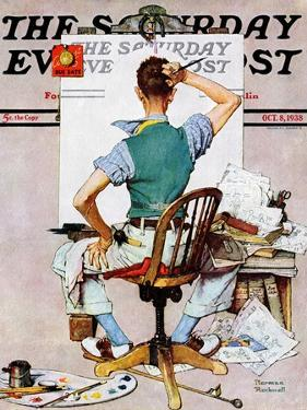 """""""Blank Canvas"""" Saturday Evening Post Cover, October 8,1938 by Norman Rockwell"""