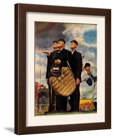 """""""Bottom of the Sixth""""  (Three Umpires), April 23,1949 by Norman Rockwell"""
