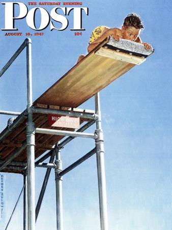 """""""Boy on High Dive"""" Saturday Evening Post Cover, August 16,1947 by Norman Rockwell"""