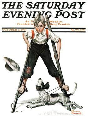 """Boy on Stilts"" Saturday Evening Post Cover, October 4,1919 by Norman Rockwell"
