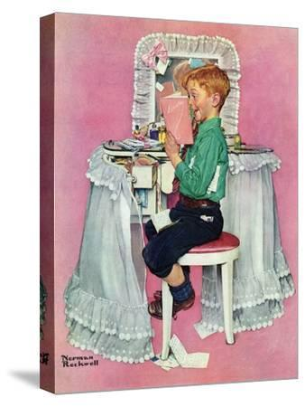 """""""Boy Reading his Sister's Diary"""", March 21,1942 by Norman Rockwell"""