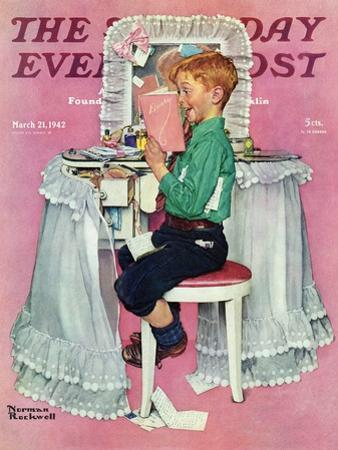 """Boy Reading his Sister's Diary"" Saturday Evening Post Cover, March 21,1942 by Norman Rockwell"