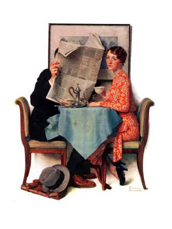 """""""Breakfast Table"""" or """"Behind the Newspaper"""", August 23,1930 by Norman Rockwell"""