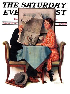 """Breakfast Table"" or ""Behind the Newspaper"" Saturday Evening Post Cover, August 23,1930 by Norman Rockwell"