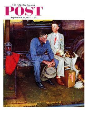 """""""Breaking Home Ties"""" Saturday Evening Post Cover, September 25,1954 by Norman Rockwell"""