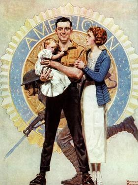 Carrying On (or Veteran with Wife and Child) by Norman Rockwell