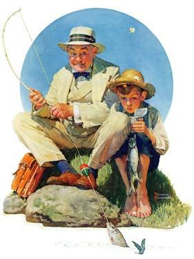 """Catching the Big One"", August 3,1929 by Norman Rockwell"
