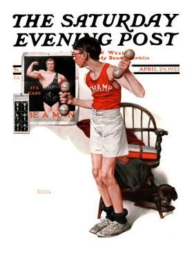"""Champ"" or ""Be a Man"" Saturday Evening Post Cover, April 29,1922 by Norman Rockwell"