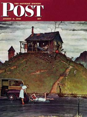 """Changing a Flat"" Saturday Evening Post Cover, August 3,1946 by Norman Rockwell"