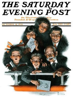 """Charlie Chaplin Fans"" Saturday Evening Post Cover, October 14,1916 by Norman Rockwell"