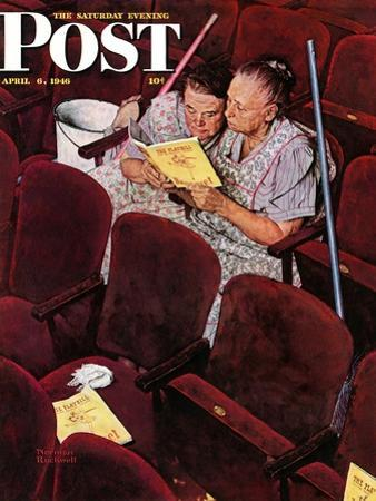 """Charwomen"" Saturday Evening Post Cover, April 6,1946 by Norman Rockwell"