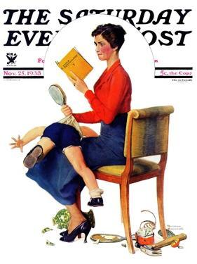 """Child Psychology"" or ""Spanking"" Saturday Evening Post Cover, November 25,1933 by Norman Rockwell"
